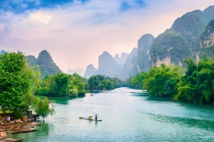 The Li River and Karst Mountains, near Guilin, China.