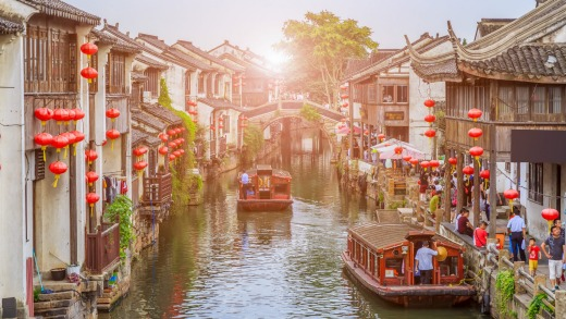 The ancient town of Suzhou, China .