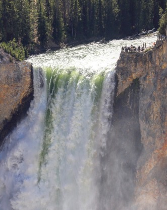 The Grand Canyon of Yellowstone, Wyoming: The river's Lower Yellowstone Falls are a massive 94 metres high - twice the ...