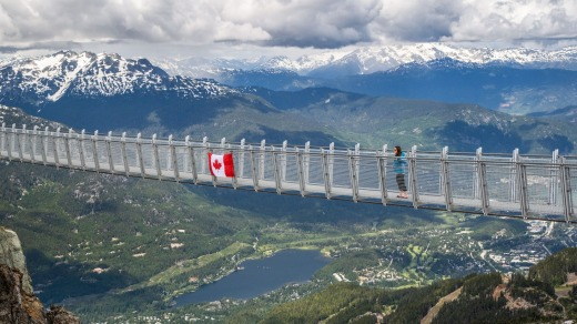 Cloudraker Skybridge is located right beside the top station of Peak Chair on Whistler Mountain.
