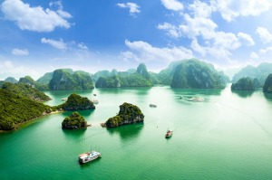 The view from Ti Top island across Ha Long Bay in Vietnam.