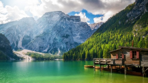 Lake Braies in the Dolomites.