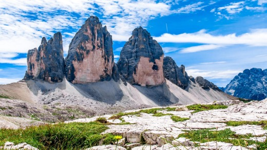 "The Tre Cime di Lavaredo (Italian for ""three peaks of Lavaredo""), in the Sexten Dolomites."