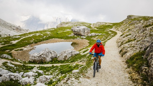 Mountain biking in the Dolomites.