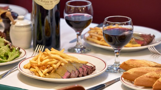 Classic French bistro fare at Le Relais de Venise, Paris.