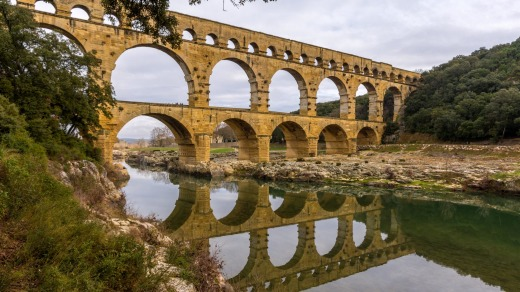The imposing Pont du Gard, an ancient Roman aqueduct near Avignon in the south of France.