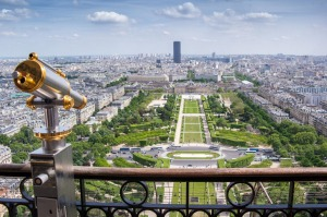 A view over Paris from the Eiffel Tower.