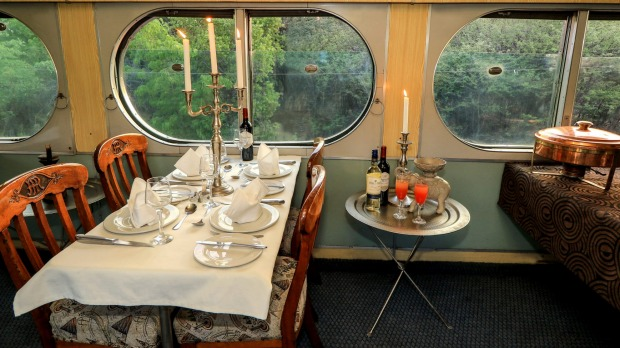 Dining by candlelight on the eclectically furnished Stimela Star.