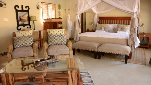 A room at the luxurious Camelthorn Lodge on the outskirts of Hwange National Park.