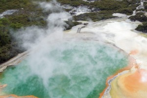 The Champagne Pool at Wai-O-Tapu, a thermal activity centre near Rotorua, in the central North Island.