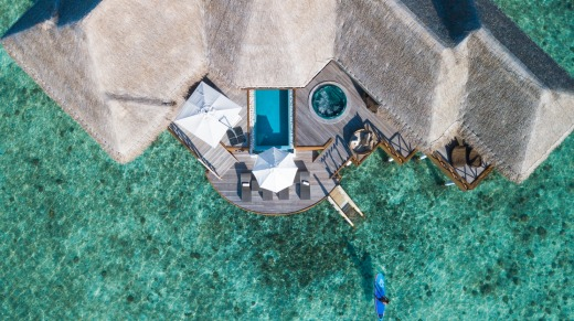 Out of the blue: An overwater bungalow at Huvafen Fushi, Maldives.