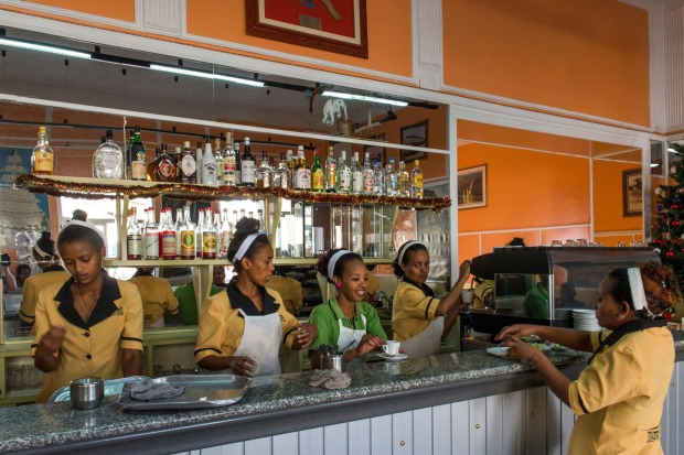 Waitresses in a cafe in Eritrea.