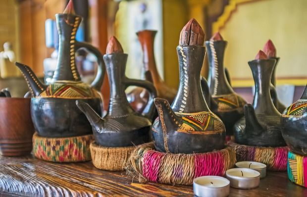 Traditional Ethiopian jebena boiling pots for brewing coffee for the coffee ceremony.