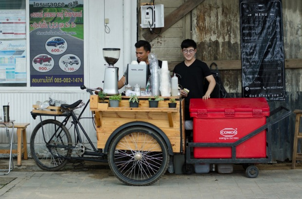 A coffee street bicycle cart  in Chiang Mai, Thailand.