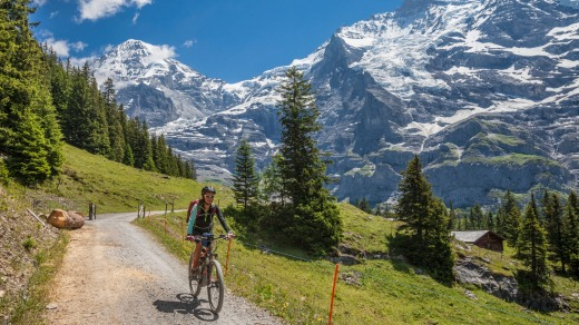 Cycling in picture-postcard perfect Switzerland.