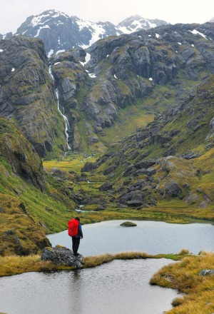 Lake Harris. Waterfalls abound when walking the Routeburn Track in the wet.