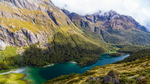 Looking over Lake McKenzie on the Routeburn track, one of New Zealand's Great Walks.