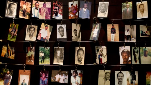 Family photographs of some of those who died hang in a display in the museum.