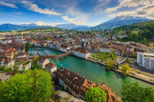 The Reuss River splits the Swiss city of Lucerne in half.