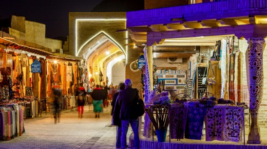 A bazaar comes alive at night in Bukhara, Uzbekistan.