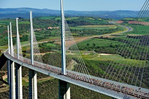 France's Millau Viaduct  above the River Tarn valley rises up to 343 metres above ground.