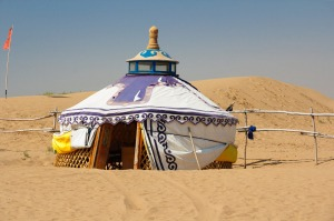 A gur (Mongolian yurt) in the Gobi Desert.
