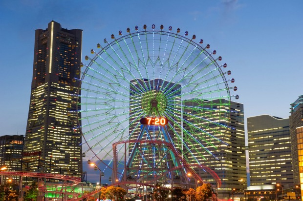 COSMO CLOCK 21, YOKOHAMA: At night, Yokohama's redeveloped Minato Mirai waterfront is a whirligig of neon lights and ...