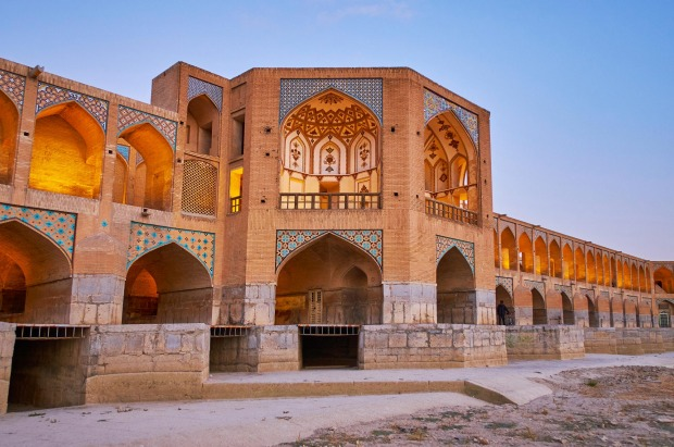 The Khaju Bridge, Isfahan, Iran: It takes on a somewhat palace-like look with a central pavilion and two long wings ...