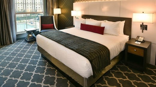 Unlike the Graceland mansion itself, the rooms are understated and modern.
