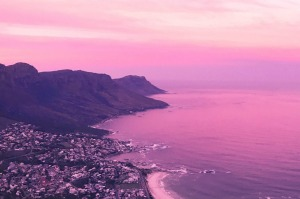 A pink sunset over Cape Town.