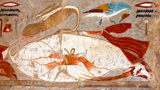 An engraved relief at the Mortuary Temple of Hatshepsut, Luxor.