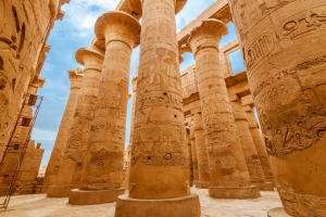 Great Hypostyle Hall and clouds at the Temples of Karnak (ancient Thebes).