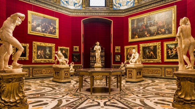 The Tribuna in the Uffizi gallery, Florence, Italy.