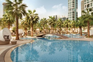 The pool area at Shangri-La Doha Hotel.