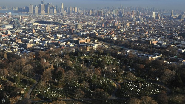 View over Green-Wood Cemetery and downtown Brooklyn, New York.