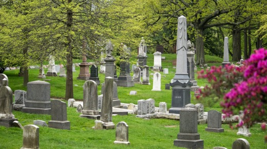 Alley of obelisks and tombstones at Green-Wood cemetery, Brooklyn.