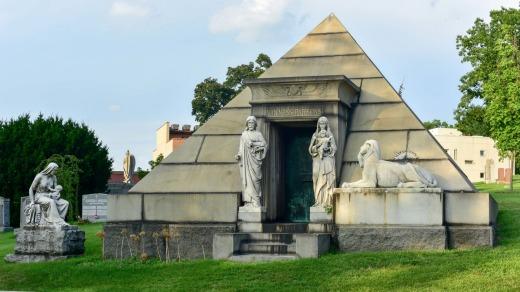 Majestic tomb in the historic Greenwood Cemetery in Brooklyn, New York.