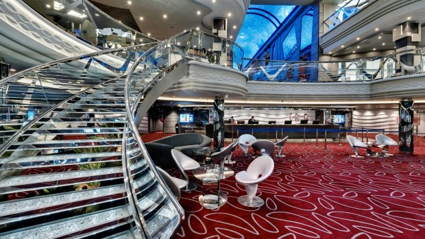 The Infinity Atrium on MSS Meraviglia, with a staircase featuring  Swarovski crystals.