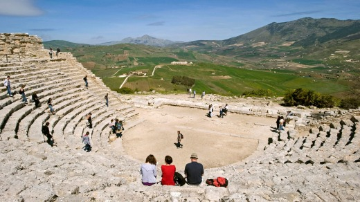 Segesta archeological site: Antic theatre built in the 3rd century BC.