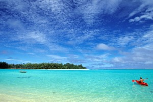 Kayaker, Muri Beach, Rarotonga, Cook Islands