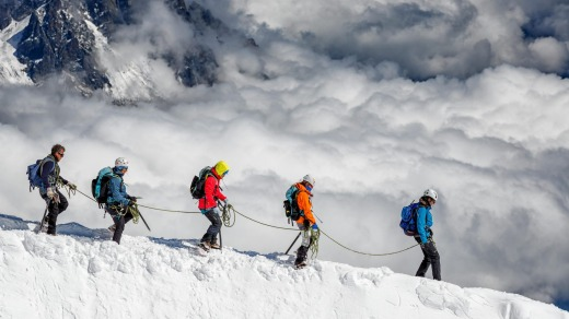 Group of climbers on the slopes Mont Blanc, Chamonix, France.