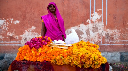 The striking colours on the streets of Jaipur.