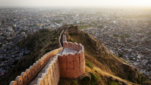 Nahargarh fort walls and the panorama of Jaipur.