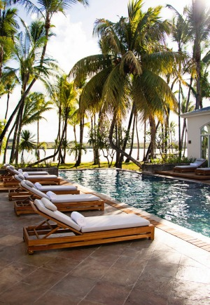Poolside at One & Only Le St Geran Mauritius.