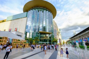 Shoppers visit Siam Paragon mall in Siam Square mall  in Bangkok, Thailand.