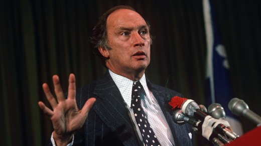 Former prime minister Pierre Trudeau  at a political party rally in Montreal.