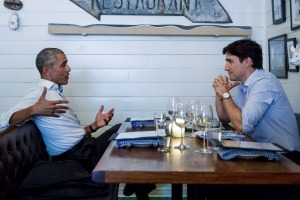 Prime Minister Justin Trudeau meets  Barack Obama at Liverpool House in June 2017