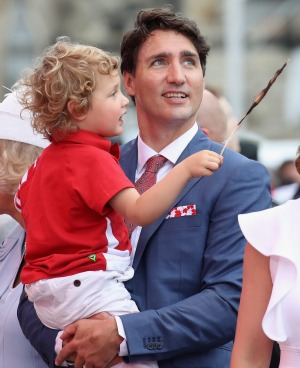 Canadian Prime Minister Justin Trudeau and his son, Hadrien.