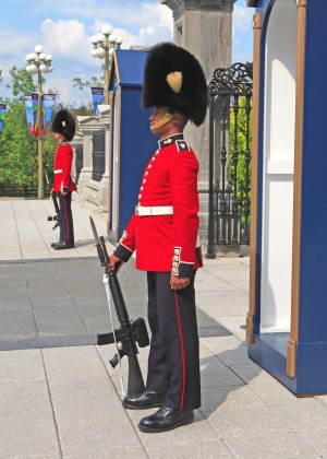 A sentry outside Ottawa's Rideau Hall, Canada's equivalent of Government House.