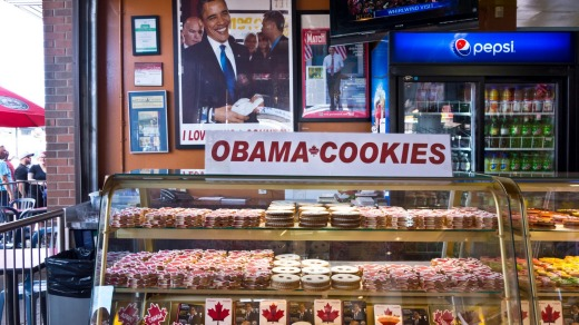 Obama Cookies at Le Moulin de Provence bakery in Ottawa.